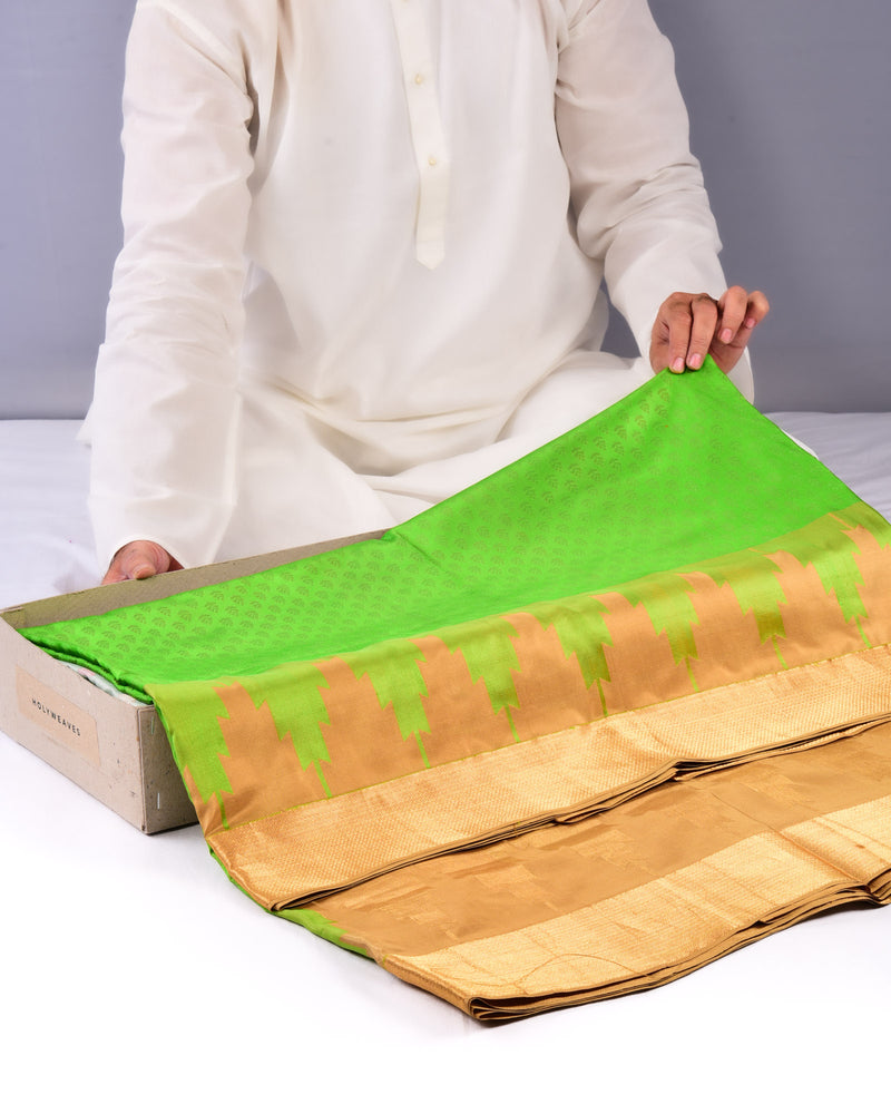 Green Katan (कतान) Silk Tanchoi Brocade Handwoven Saree