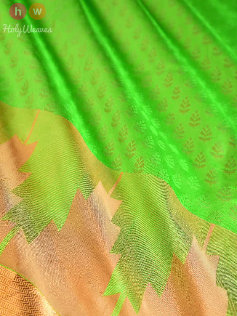 Green Katan (कतान) Silk Tanchoi Brocade Handwoven Saree - HolyWeaves