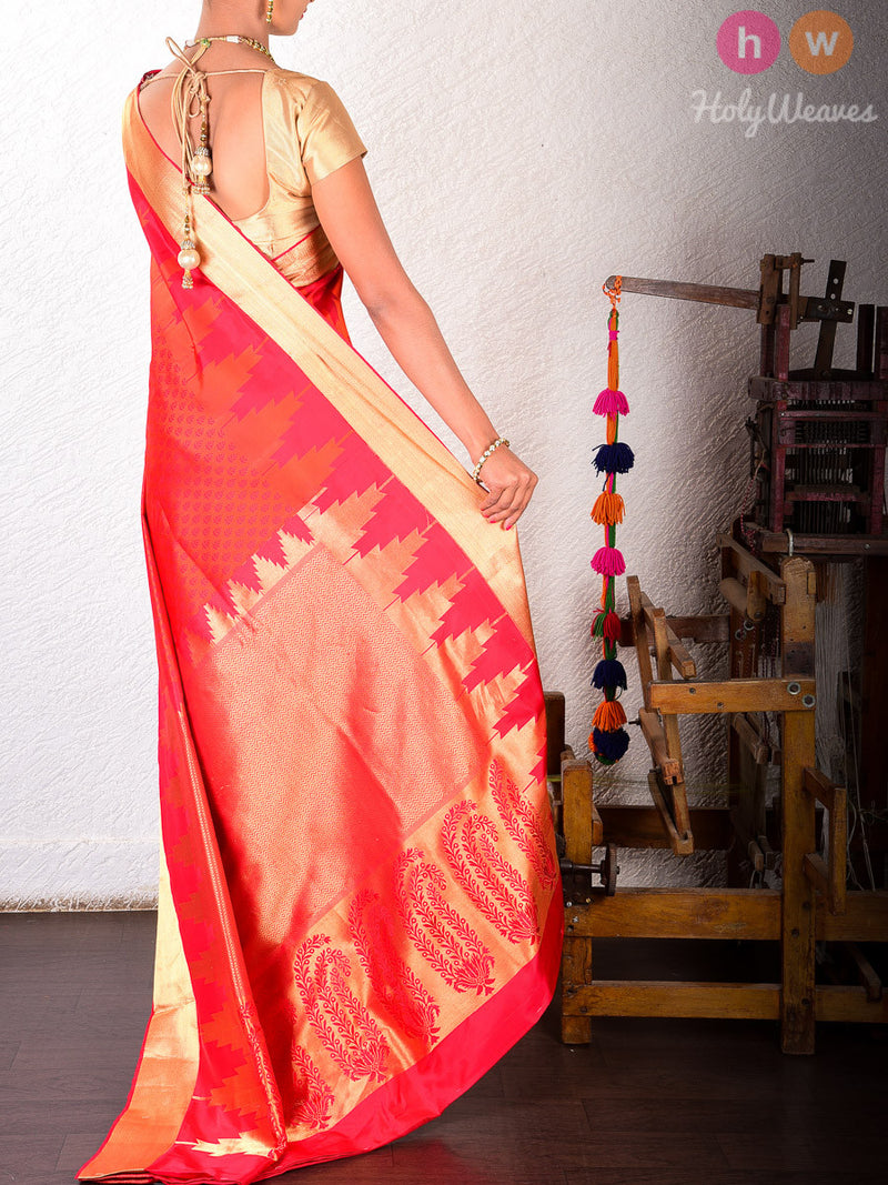 Red-Orange Silk Tanchoi Brocade Handwoven Saree - HolyWeaves