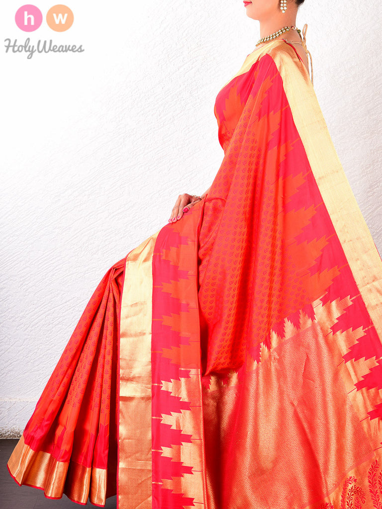 Red-Orange Katan Silk South Tanchoi Brocade Handwoven Saree - HolyWeaves