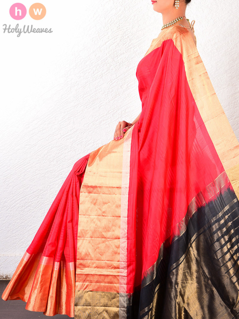 Red Silk Handwoven Saree - HolyWeaves