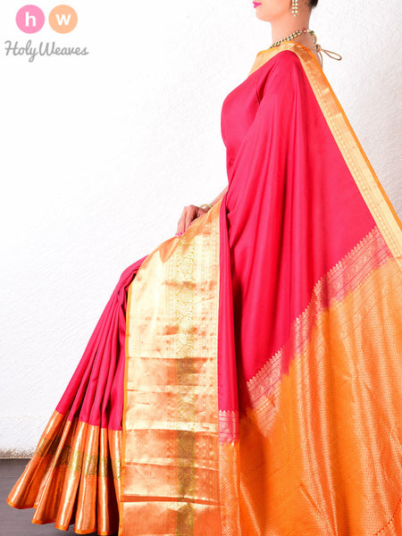 Red Silk Tanchoi Brocade Handwoven Saree - HolyWeaves