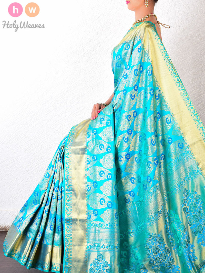 Green Silk Brocade Handwoven Saree - HolyWeaves