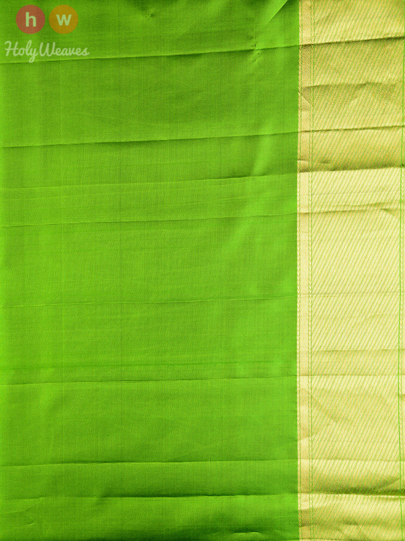 Green Silk Tanchoi Brocade Handwoven Saree - HolyWeaves