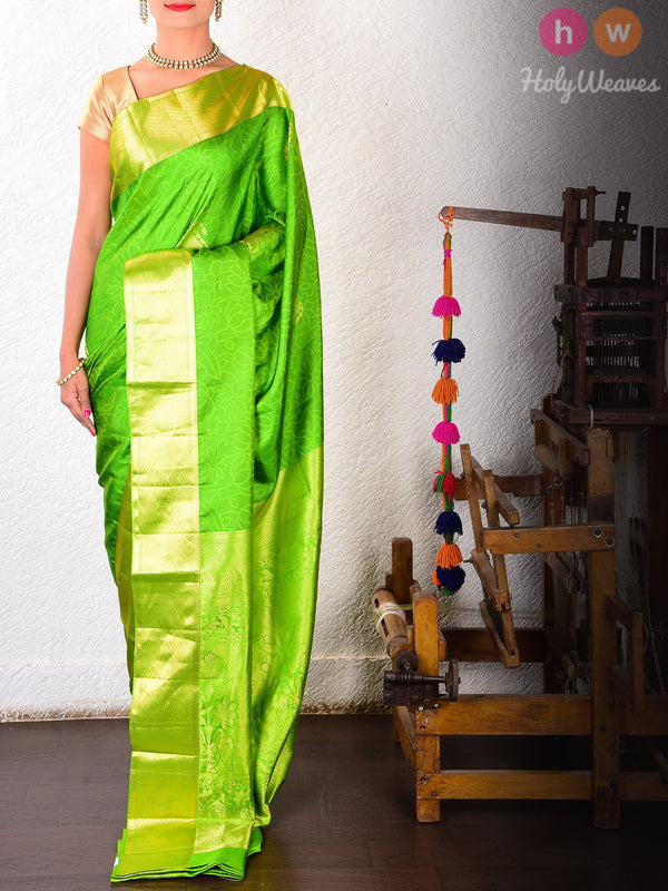 Green Silk Tanchoi Brocade Handwoven Saree- HolyWeaves