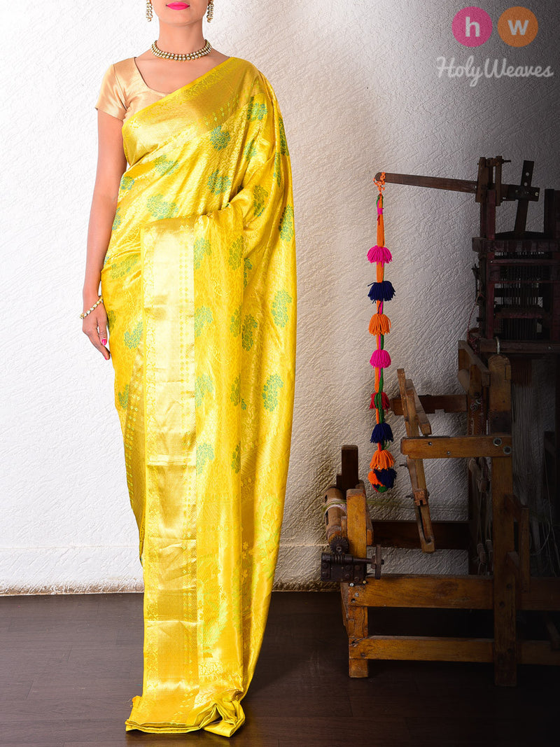 Yellow Silk Brocade Handwoven Saree - HolyWeaves
