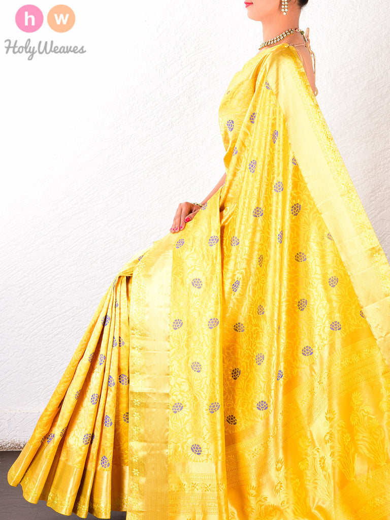 Yellow Katan Silk South Brocade Handwoven Saree