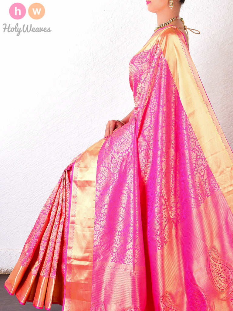 Pink Katan Silk South Brocade Handwoven Saree - HolyWeaves