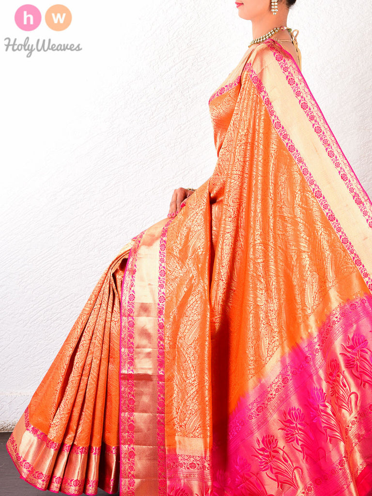 Orange Katan Silk South Brocade Handwoven Saree - HolyWeaves