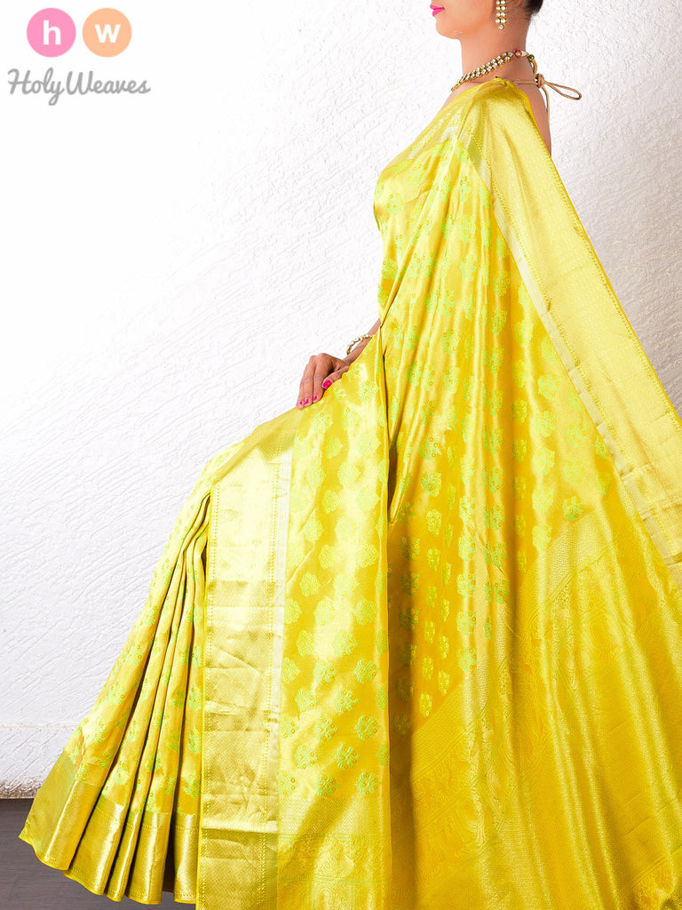 Yellow Katan Silk South Brocade Handwoven Saree - HolyWeaves