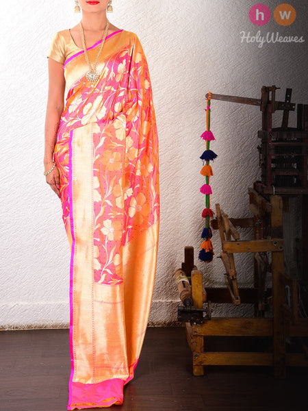 Peach Katan Silk Banarasi Cutwork Alfi Brocade Handwoven Saree
