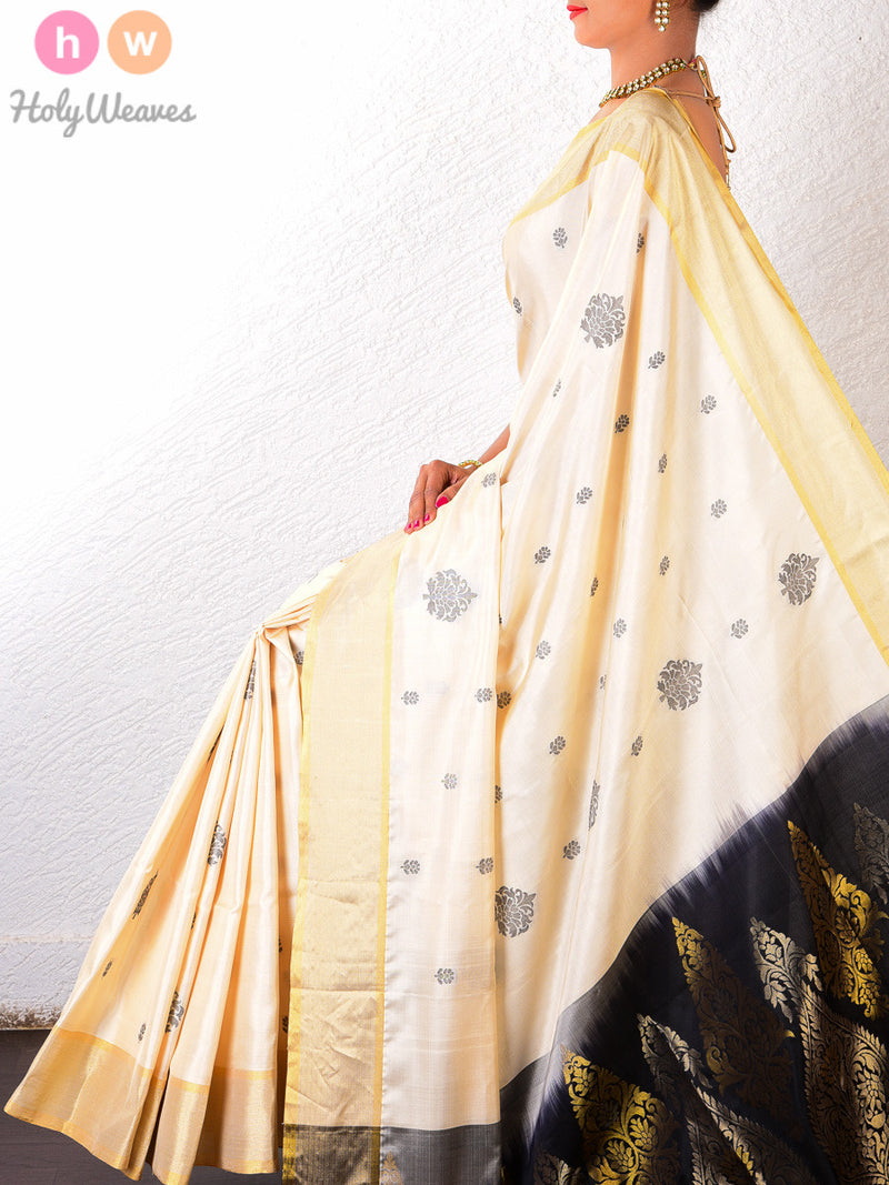 Cream Silk Cutwork Brocade Handwoven Saree - HolyWeaves