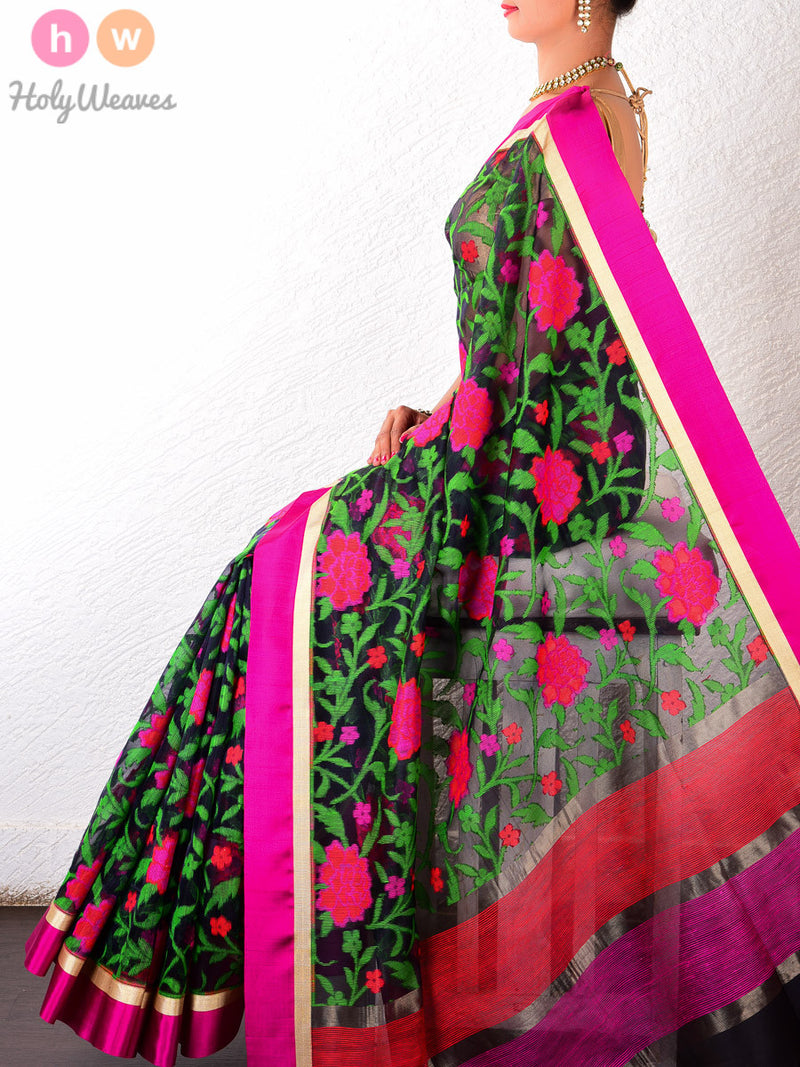 Black Kora (कोरा) Silk Cutwork Brocade Handwoven Saree - HolyWeaves