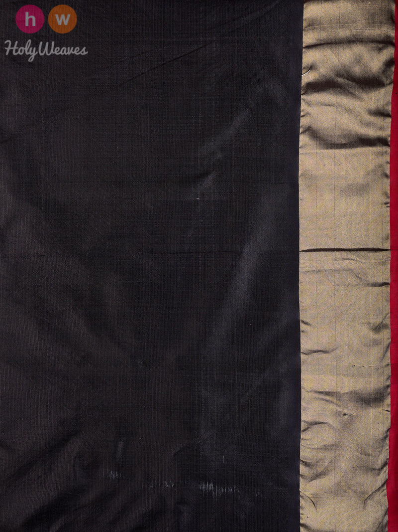 Black Kota Silk Pochampally Handwoven Saree - HolyWeaves