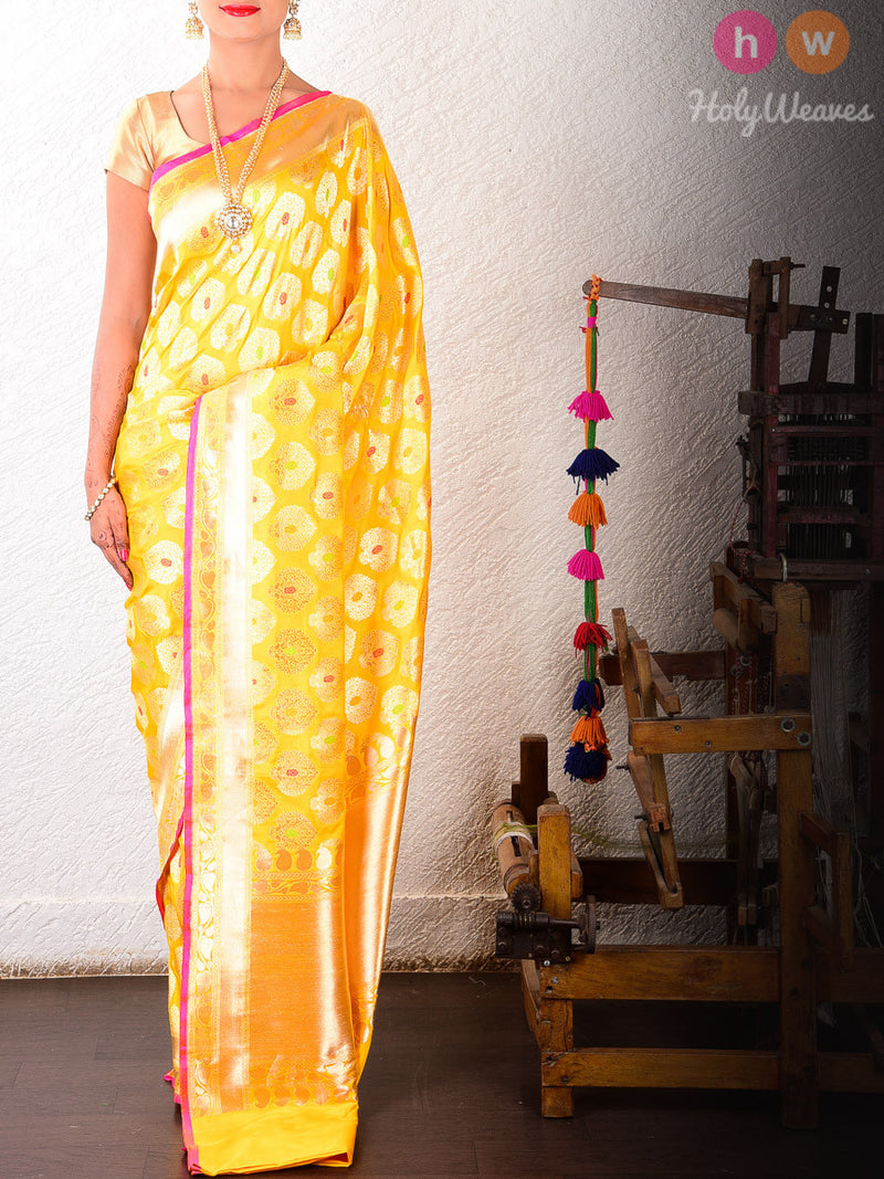 Yellow Katan Silk Banarasi Cutwork Alfi Brocade Handwoven Saree - HolyWeaves