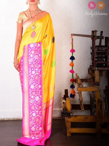 Yellow Katan Silk Kadhuan Brocade Handwoven Saree