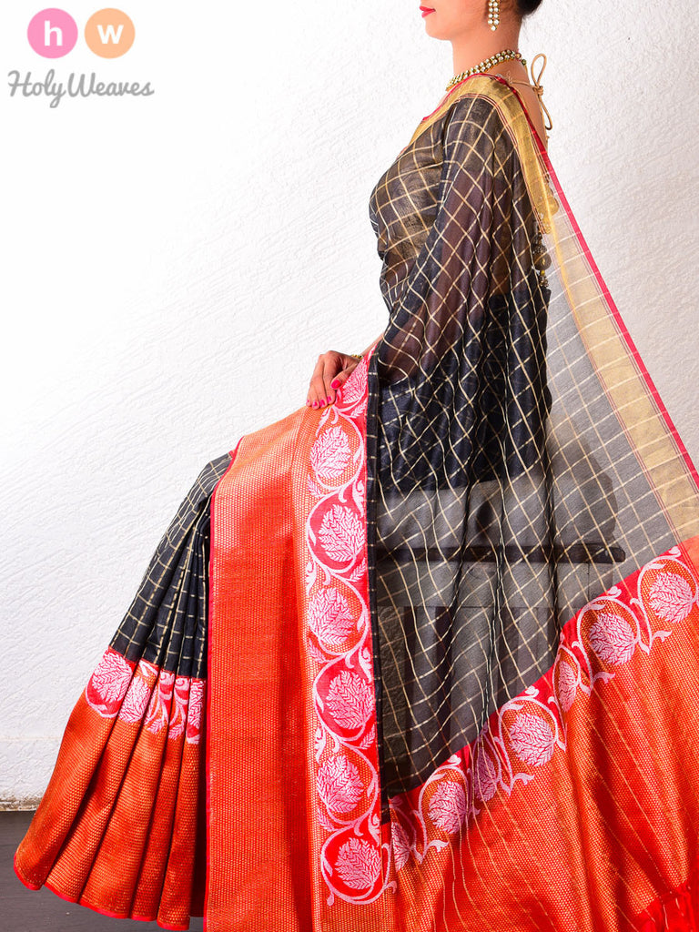 Black Chequered Tasar Silk Brocade Handwoven Saree with Red Kadiyal Borders - HolyWeaves