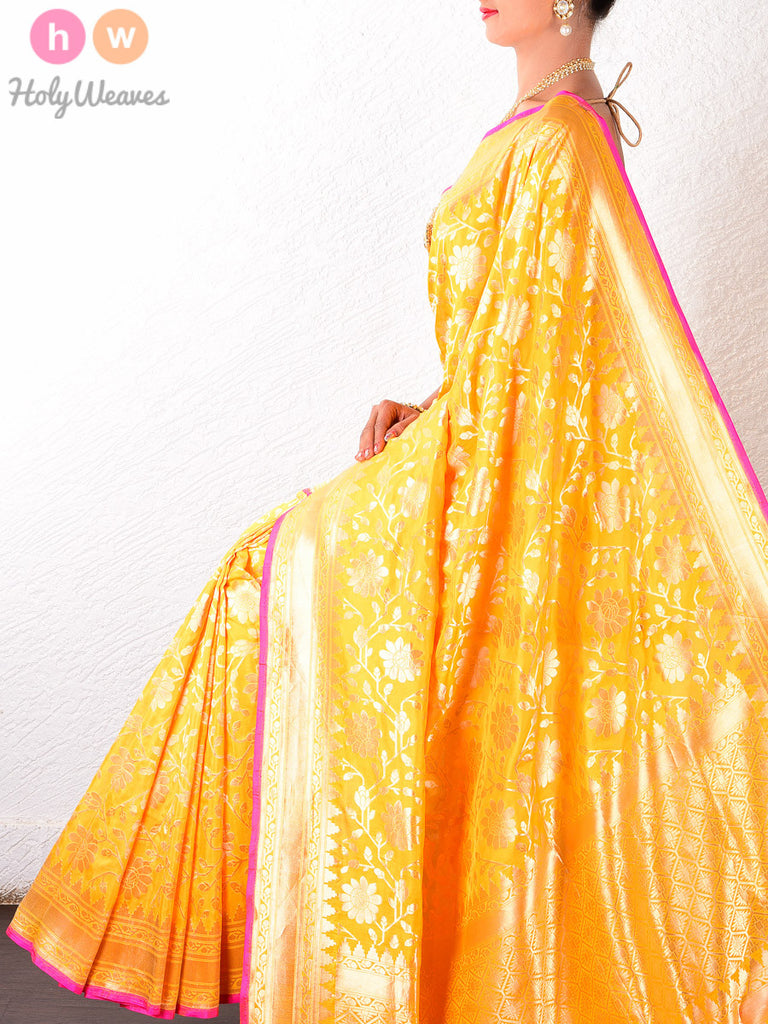 Yellow Katan Silk Banarasi Cutwork Brocade Handwoven Saree - HolyWeaves