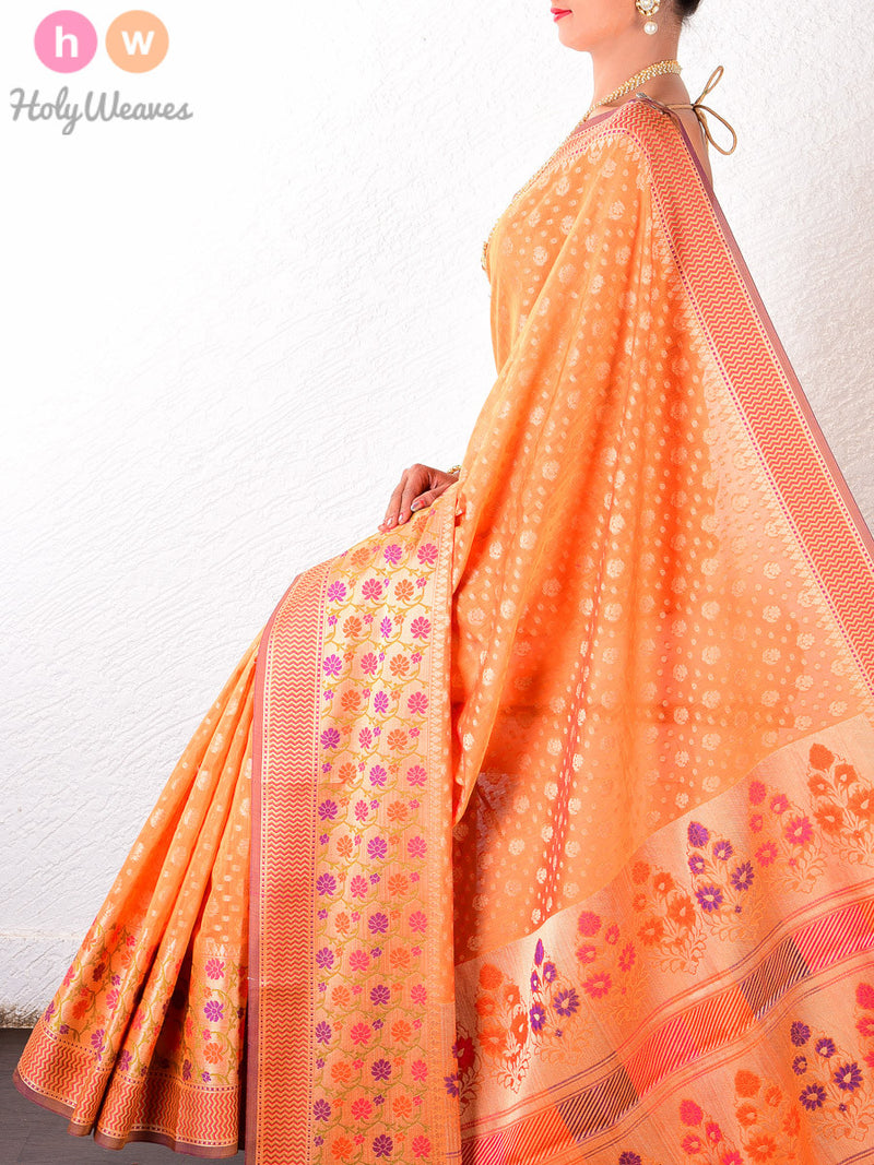 Orange Cotton Silk Cutwork Brocade Woven Saree - HolyWeaves