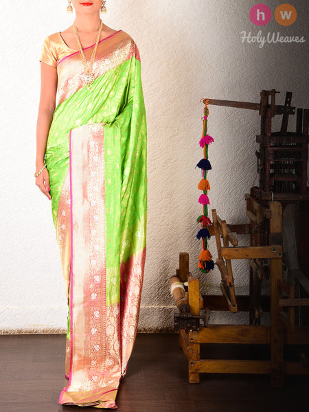 Green Katan Silk Banarasi Cutwork Brocade Handwoven Saree