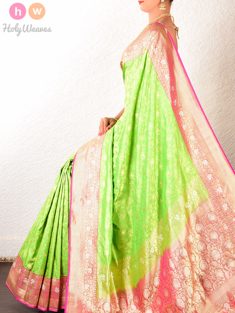 Green Katan Silk Banarasi Cutwork Brocade Handwoven Bridal Saree - HolyWeaves