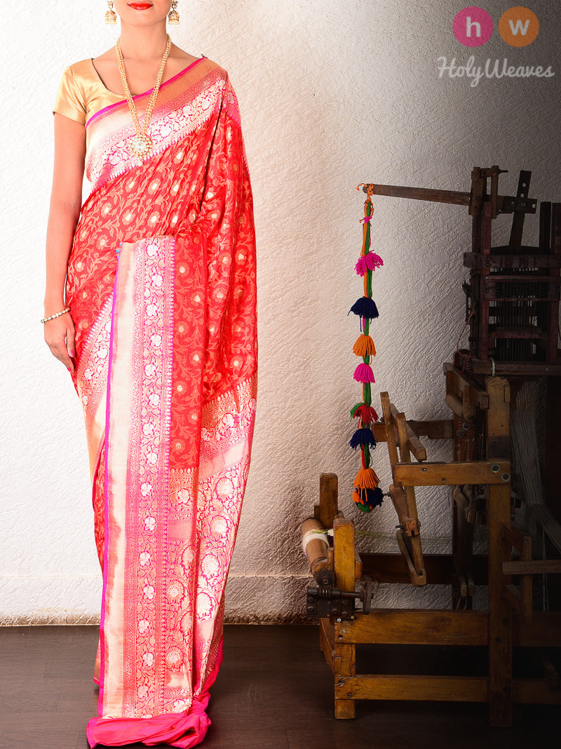 Red Katan Silk Banarasi Cutwork Brocade Handwoven Bridal Saree - HolyWeaves