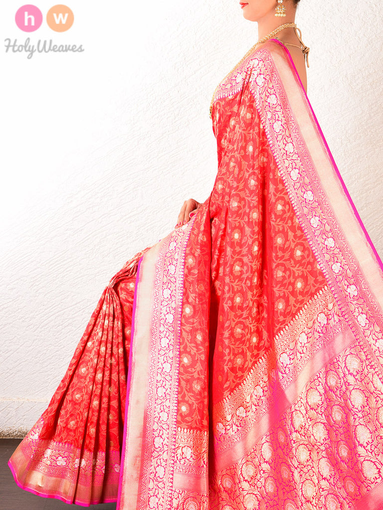 Red Katan Silk Banarasi Cutwork Brocade Handwoven Saree