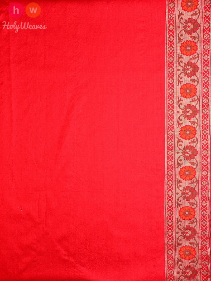 Red Katan Silk Banarasi Cutwork Tilfi Gharchola Brocade Handwoven Saree - HolyWeaves