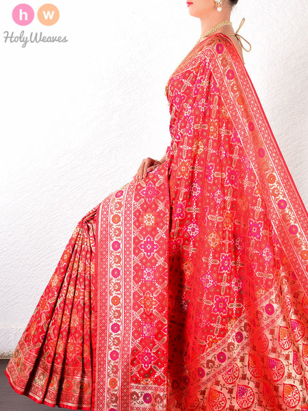 Red Katan Silk Banarasi Cutwork Brocade Handwoven Saree - HolyWeaves