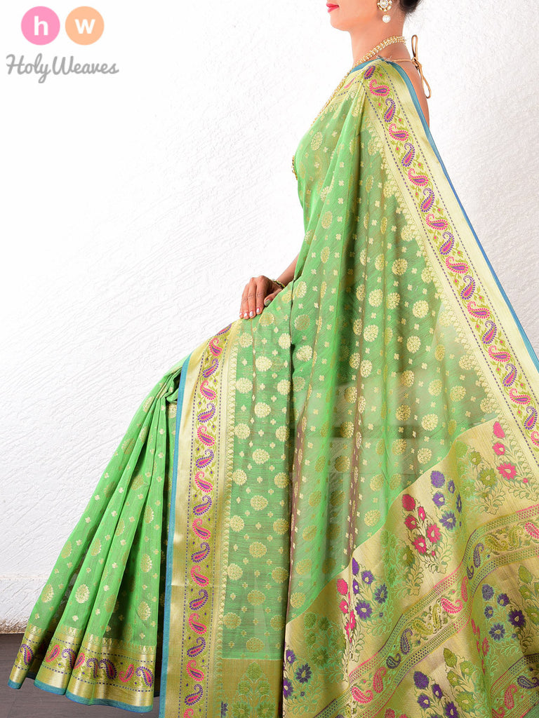 Green Cotton Silk Cutwork Brocade Woven Saree