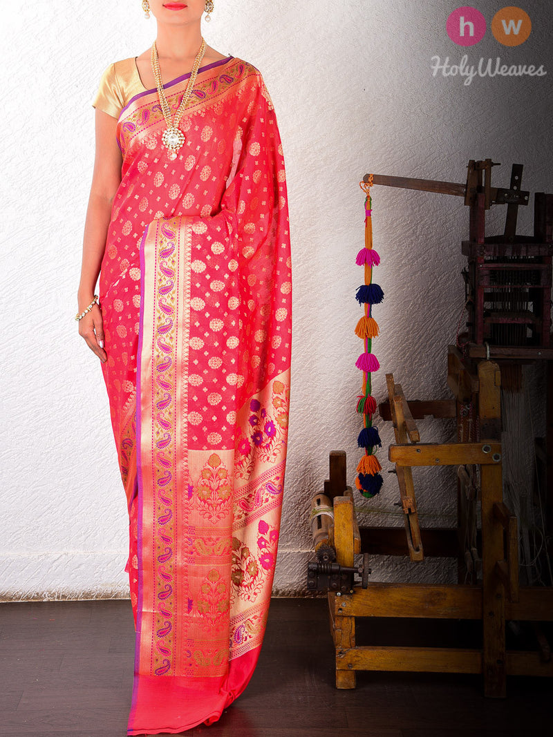 Red Cotton Silk Cutwork Brocade Woven Saree with Meenedar Paisley Border - HolyWeaves