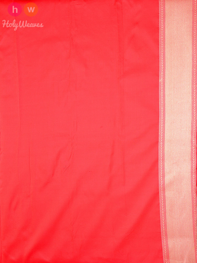 Red Silk Paisley Jaal Brocade Handwoven Banarasi Saree - HolyWeaves