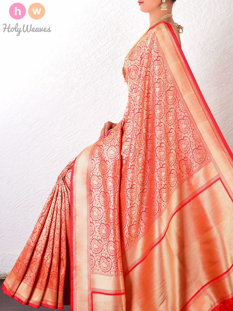 Red Katan Silk Brocade Handwoven Saree - HolyWeaves