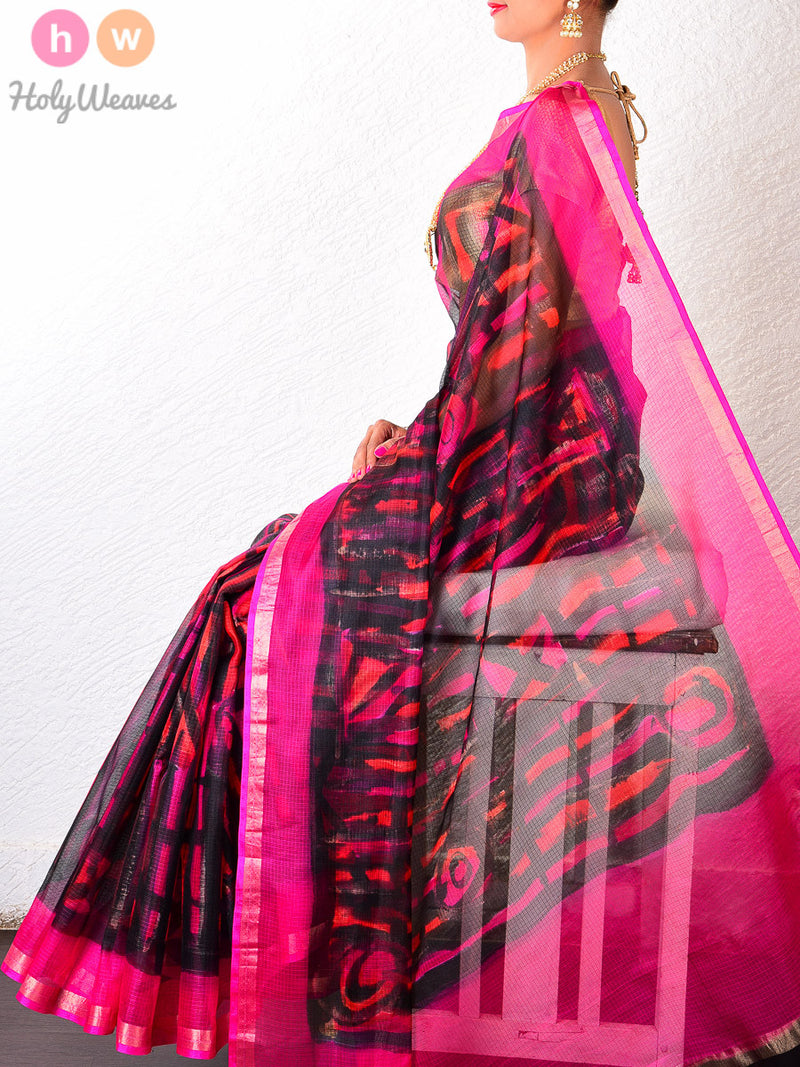 Black-Orange Kota Silk  Hand-painted Saree - HolyWeaves