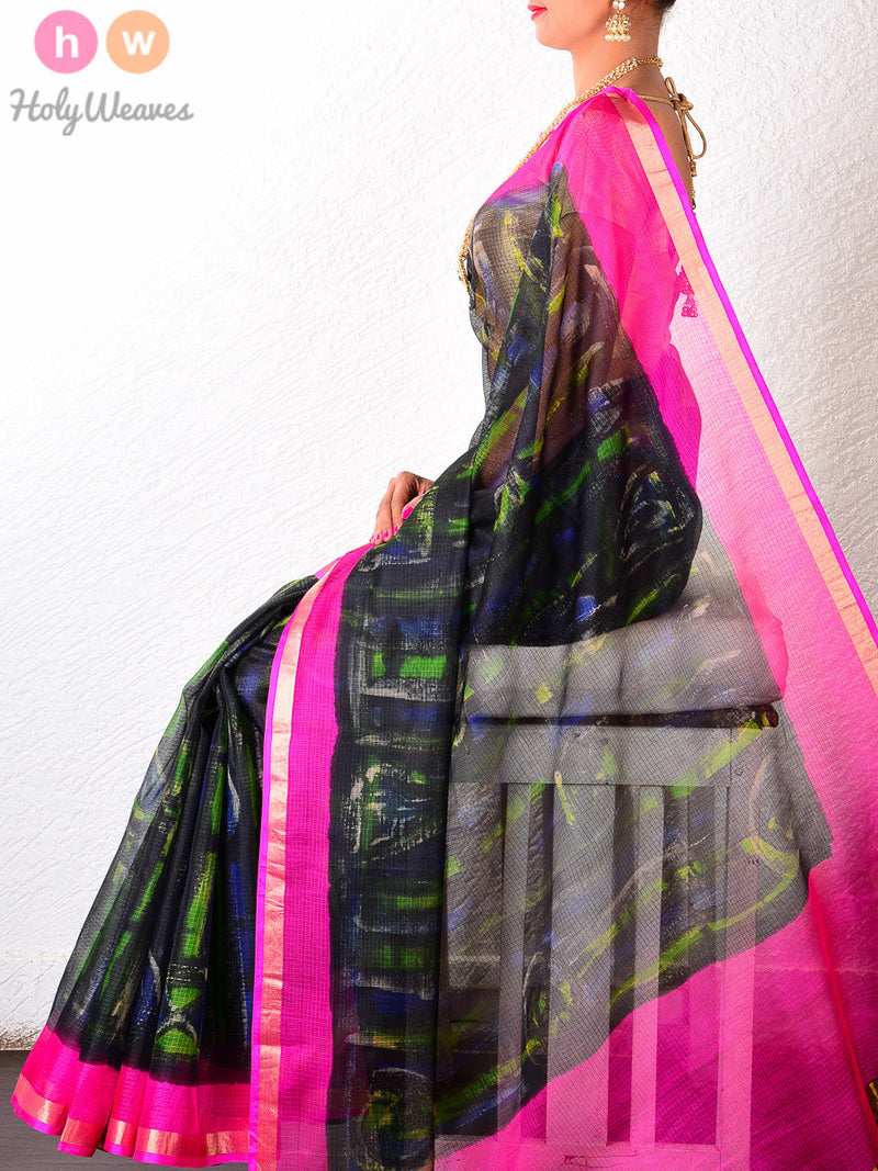 Black-Green Kota Silk  Hand-painted Saree - HolyWeaves