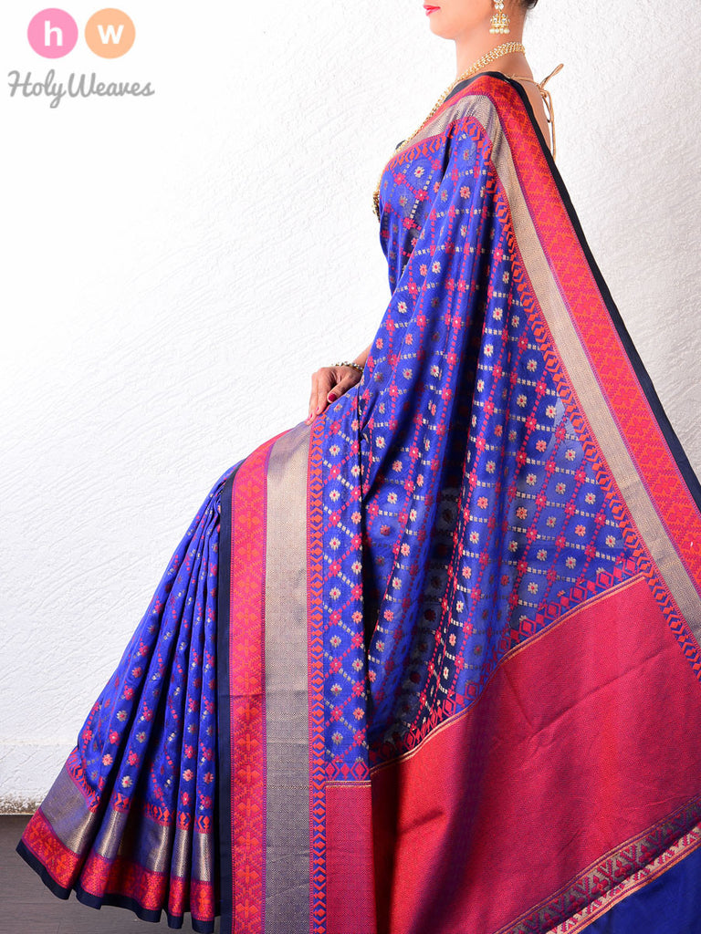 Blue & Red Jaal-Buti Cotton Silk Cutwork Brocade Woven Saree