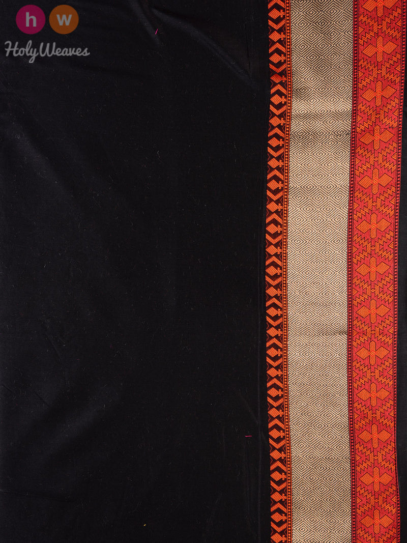 Black & Red Jaal-Buti Cotton Silk Cutwork Brocade Woven Saree - HolyWeaves
