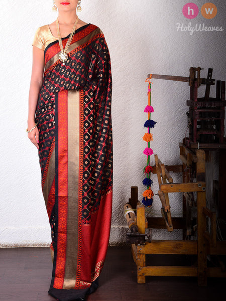Black & Red Jaal-Buti Cotton Silk Cutwork Brocade Woven Saree
