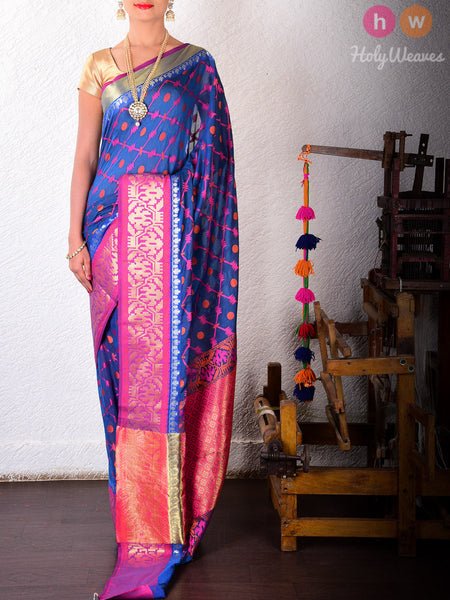 Blue Cotton Silk Barbed Wire Cutwork Brocade Woven Saree