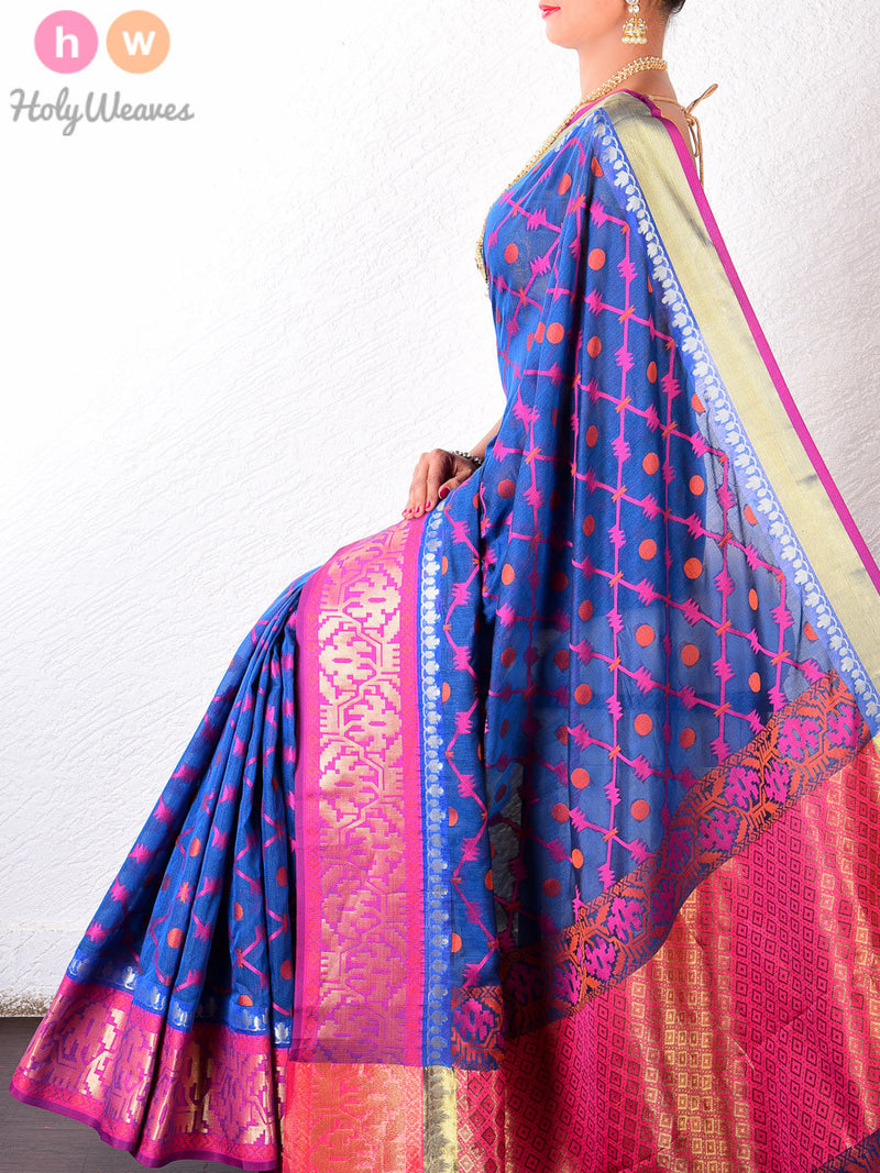 Blue & Pink Cotton Silk Barbed Wire Cutwork Brocade Woven Saree - HolyWeaves
