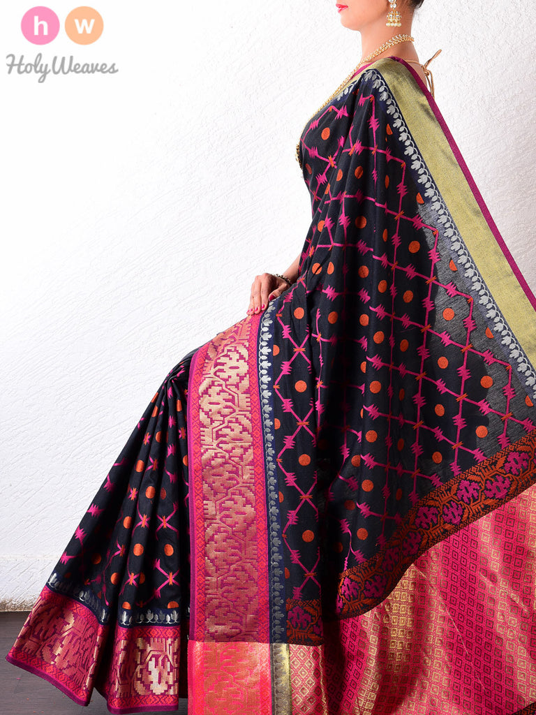 Black & Pink Cotton Silk Barbed Wire Cutwork Brocade Woven Saree - HolyWeaves