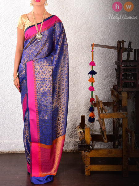 Blue Art Silk Brocade Woven Saree
