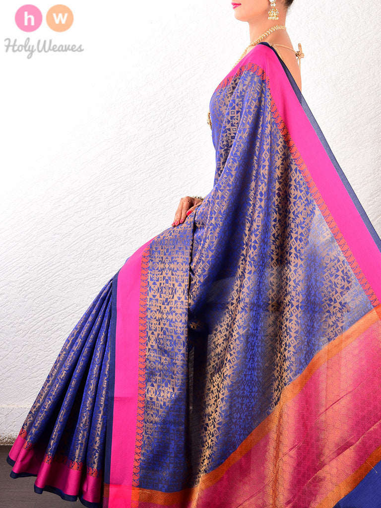 Blue Art Silk Brocade Woven Saree - HolyWeaves