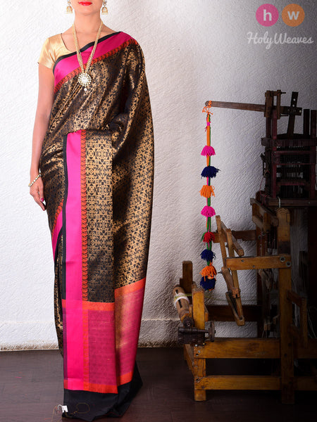 Black Art Silk Geometric Mosaic Brocade Woven Saree