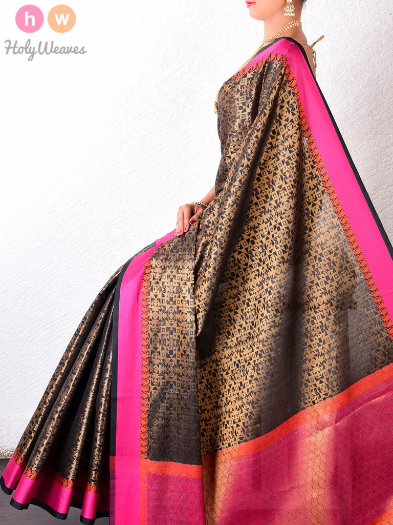 Black Art Silk Geometric Mosaic Brocade Woven Saree - HolyWeaves
