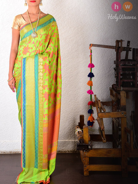 Green Art Silk Cutwork Brocade Woven Saree
