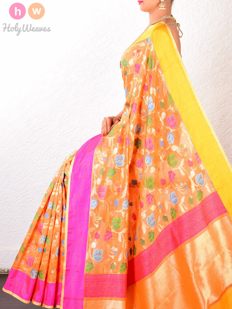 Orange Linen Silk Floral Cutwork Brocade Handwoven Saree - HolyWeaves