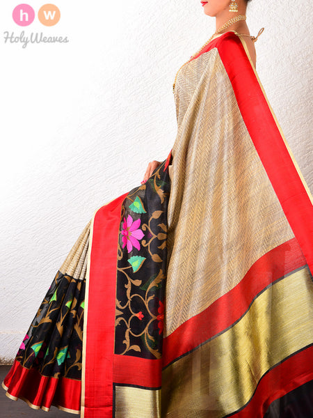 Black Raw Silk Cutwork Brocade Handwoven Saree