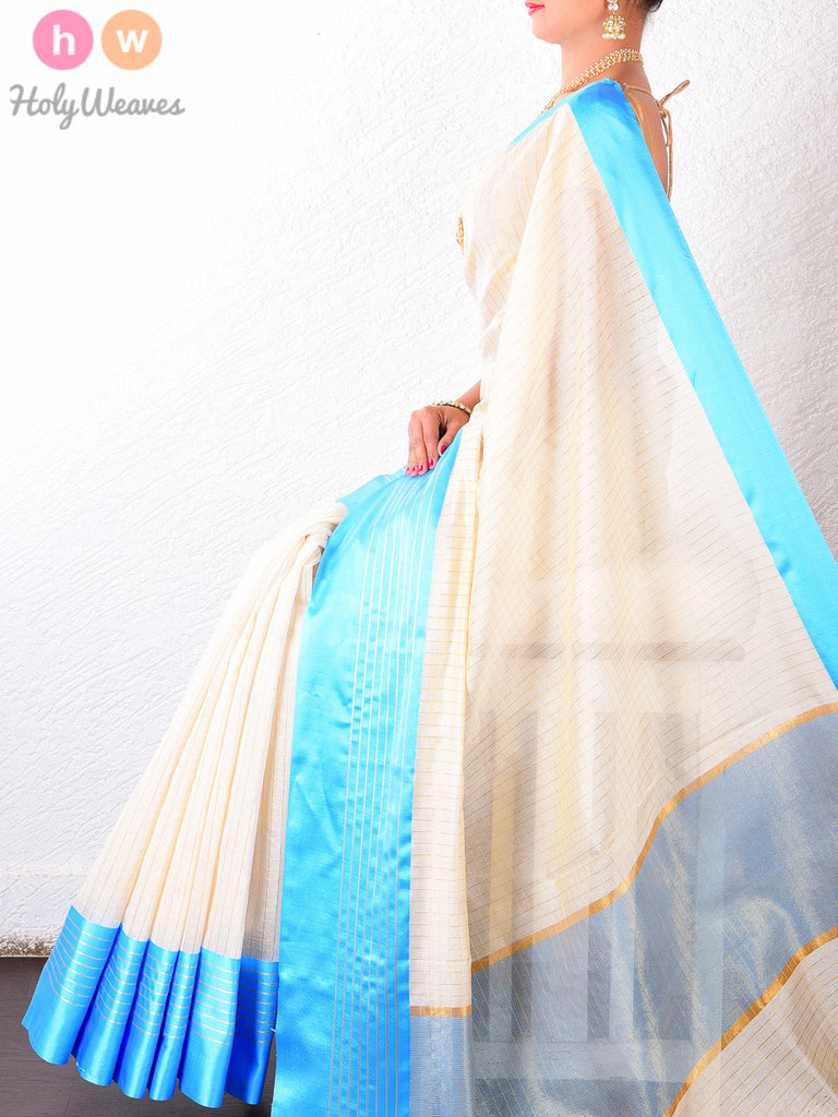 Cream & Light Blue Cotton Silk Chequered Brocade Woven Saree