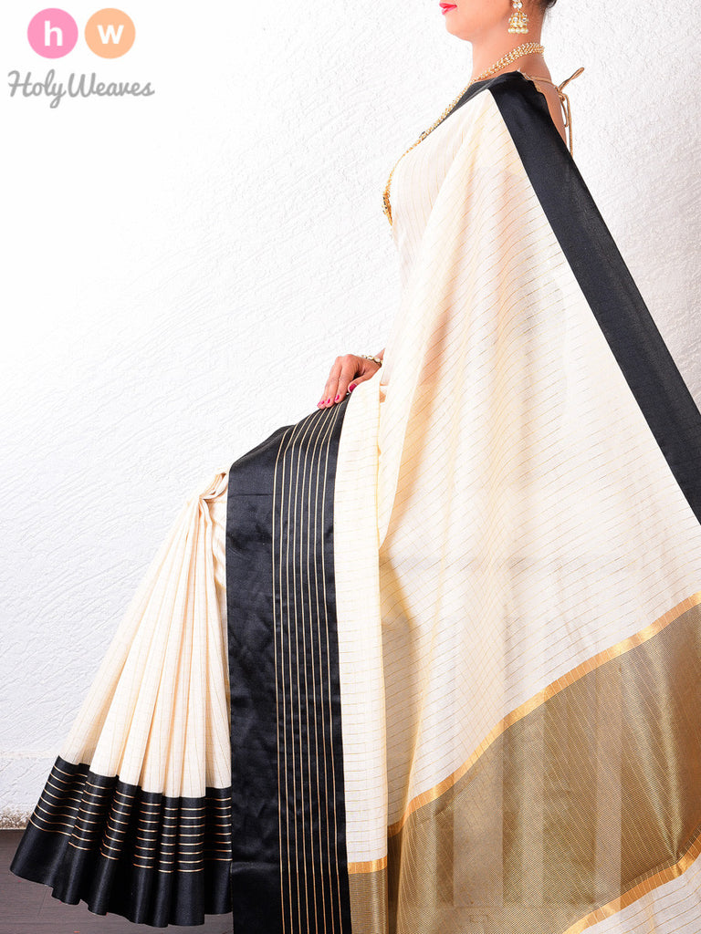Cream & Black Cotton Silk Chequered Brocade Woven Saree
